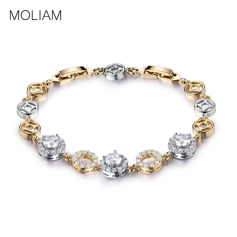 MOLIAM 2016 Famous Brand Round Crystal font b Bracelets b font Bangles for font b Women