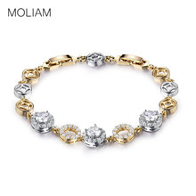 MOLIAM 2016 Famous Brand Round Crystal Bracelets Bangles for Women Gold Platinum Plated AAA Zircon CZ Hand Chain L147