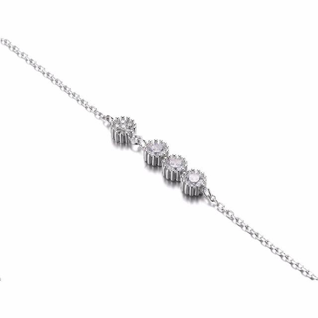 Sterling Silver 3 Stones Flower Link ID Bracelet