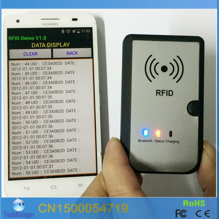 13 56MHZ Wireless Bluetooth RFID Reader Writer Compliant ISO