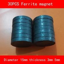 30PCS diameter 15mm thickness 3mm 5mm work temperature -40 to +220 Celsius circular Ferrite Magnet