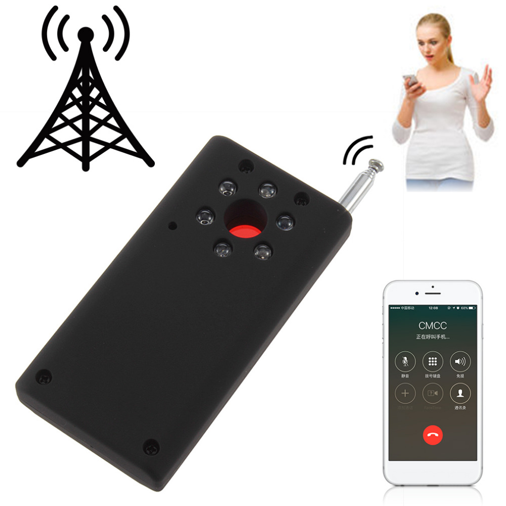 Black ABS Full Range Wireless Cell Phone Signal Detector Anti-Spy Finder CC308 US Plug WiFi RF GSM Laser Device 93*48*17mm full range anti spy bug detect rf signal detector cc308 wireless camera gsm device finder fnr full frequency detector