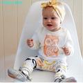 Humor Oso Ropa Nueva Primavera muchachas de Los Bebés Que Arropan la manga larga owl T-shirt + pants 2 unids traje de ropa infantil