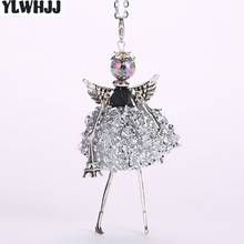 YLWHJJ brand doll cute women pendant necklace many colors long chain hot handmade girls fashion jewelry rhinestone collier femme