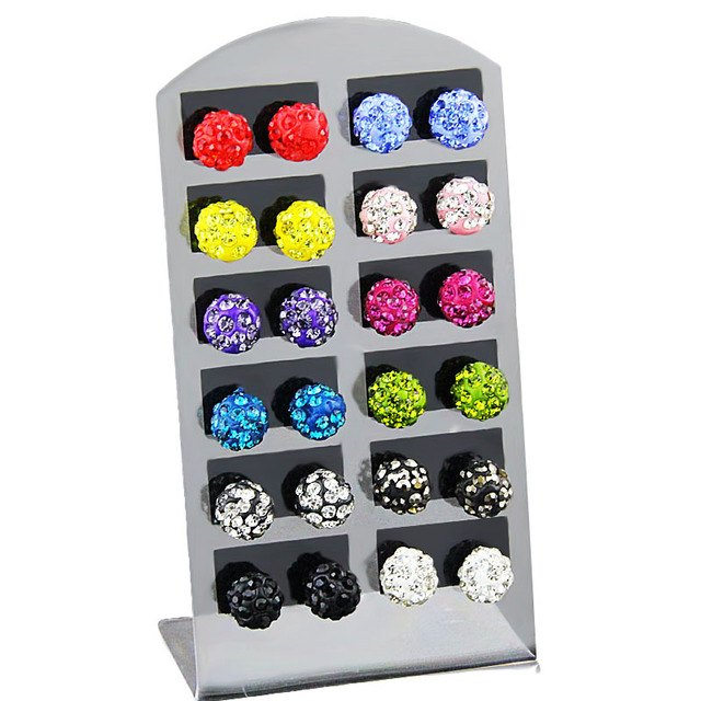 (12 Pairs/1 lot ) Fashion Jewelry 8mm Multicolor Stud Earrings Set Micro Disco B
