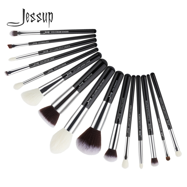 Jessup Brushes 15pcs Black/Silver Makeup Brushes Set Makeup Brush Tools kit Foundation Powder Definer Shader Liner T180