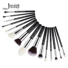 Jessup pinceaux 15 pièces noir/argent maquillage pinceaux ensemble maquillage brosse outils kit fond de teint poudre définisseur Shader Liner T180