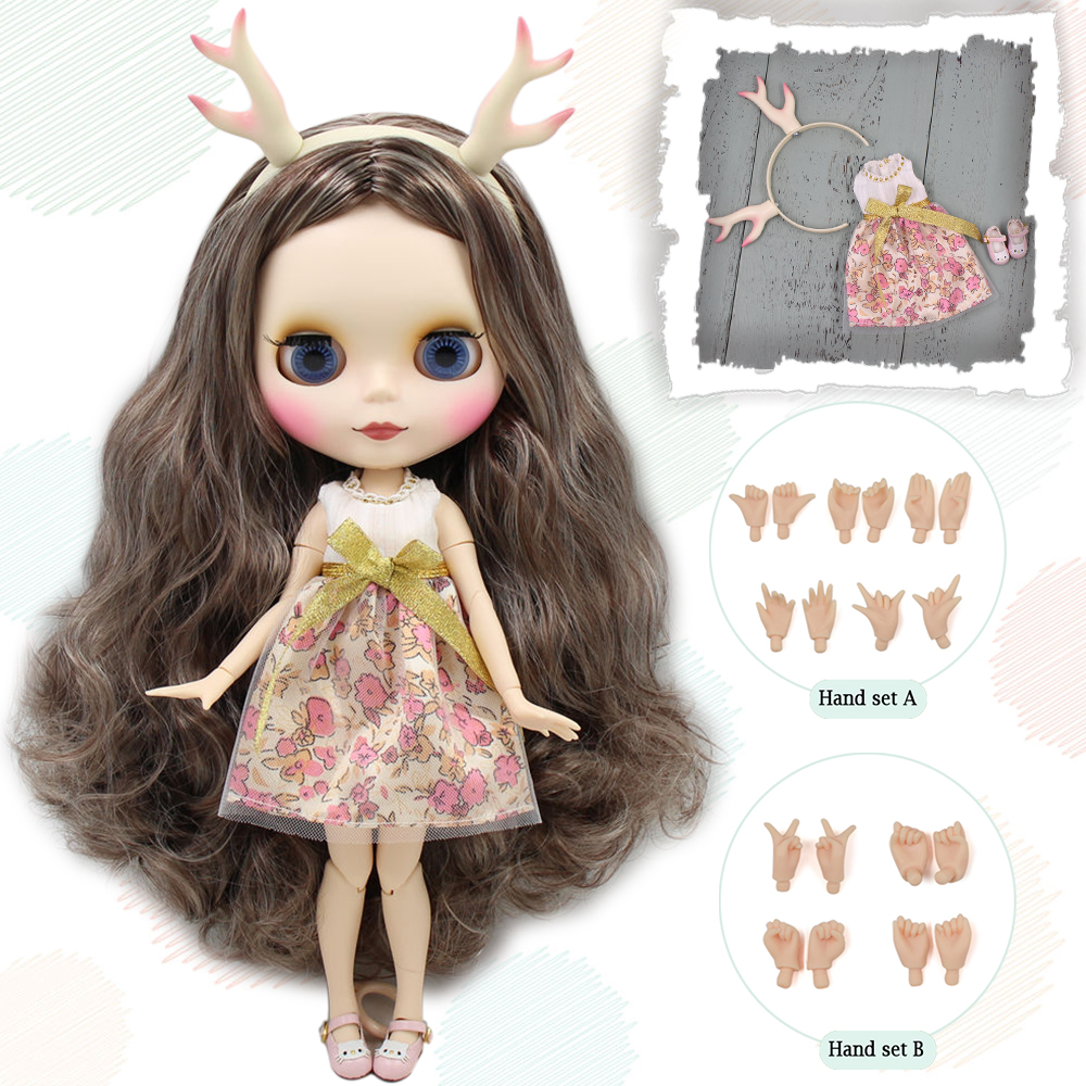 Blyth doll Cappucino Elk doll with matte face joint body dress shoes Elk horn hand set