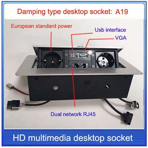 EU plug Tabletop socket hidden RJ45VGA USB
