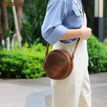 PNDME vintage round genuine leather ladies shoulder bag original handmade cowhide brown womens wheel messenger bags