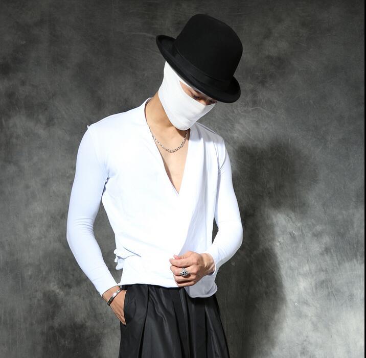 Male autumn personality v-neck t shirt men T-shirt slim shirt long-sleeve basic asymmetrical T-shirt male black white t shirts