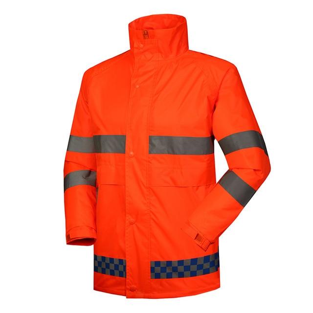 Alta visibilidad ropa impermeable orange impermeable traje de lluvia  chaqueta de seguridad reflectante y pantalones de a4a15732e34