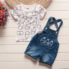 BibiCola zestawy ubrań dla chłopców dla dzieci letnie produkty bebe bawełniane topy + spodenki na szelkach 2 sztuk garnitur niemowląt dla niemowląt odzież tanie tanio Moda COTTON Czesankowej Boys baby Krótki List O-neck Swetry Flare rękawem 20170316 Kurtki Pasuje prawda na wymiar weź swój normalny rozmiar