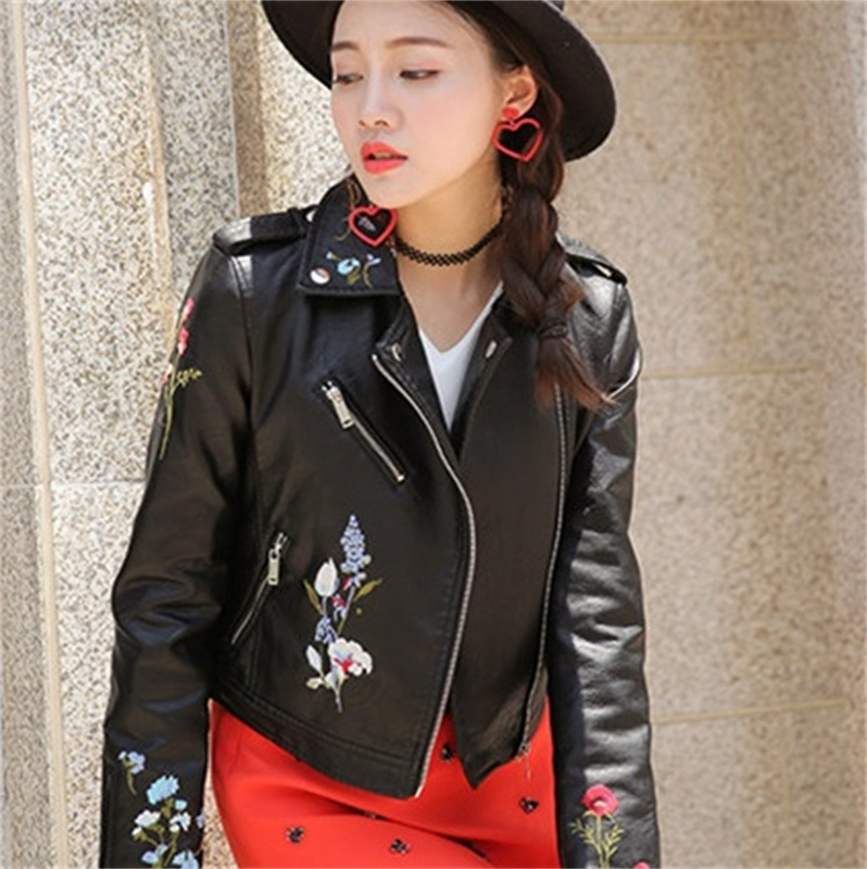 Hot Sale New Women Embroidery   Leather   Faux Pu Casual Punk Jackets Biker Coat Floral Print Slim Spring Autumn Multi color Outwear