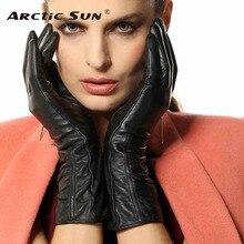High Quality Women TouchScreen Leather Gloves Warm Fashion Winter Genuine Goatskin Driving Glove Five Finger L106NC1