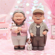 Elderly couple resin decoration present wedding anniversary grandparents birthday gift home decoration Happy marriage souvenir(China)