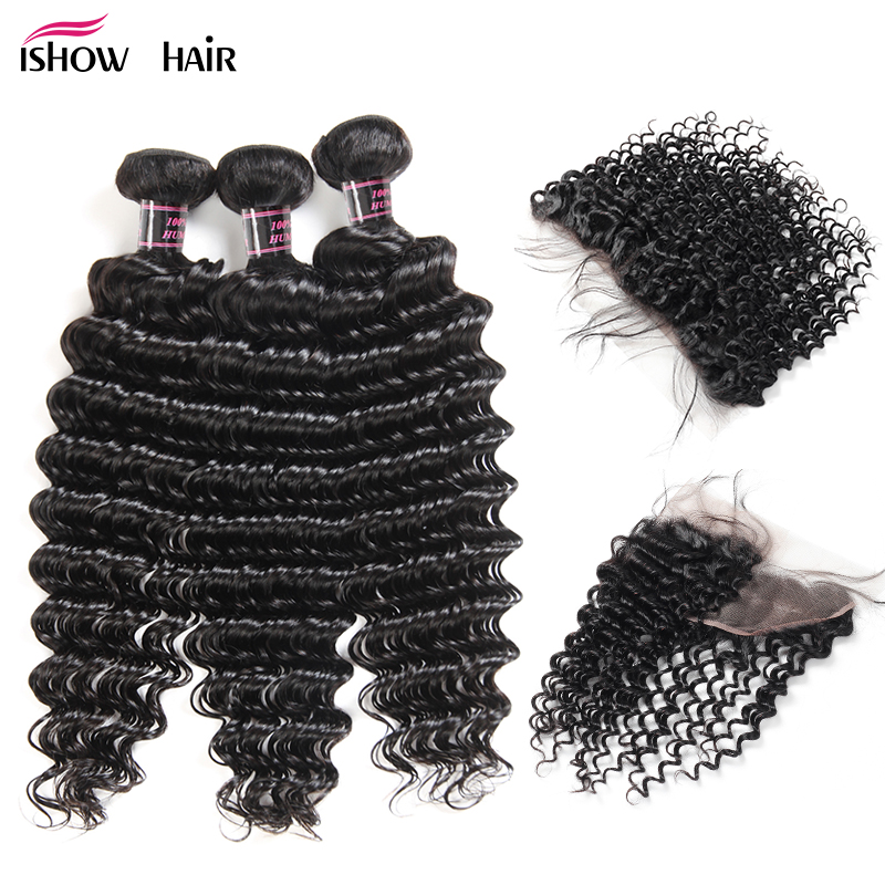Ishow Malaysian Hair Bundles With Closure Deep Wave Bundles With Frontal Non Remy Human Hair Extensions