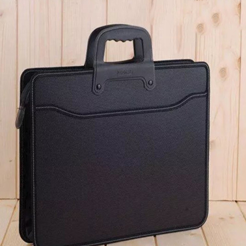 High Capacity A4 Zipper Men Briefcase Business Documents Bags Portable Files Folder Case For Documents Filing Black
