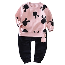 Children Boy Girl Clothes Kid Autumn Full Sleeve Cotton T-shirt Cartoon And Shorts 2pcs Suit Baby Fashion Brand Tracksuit