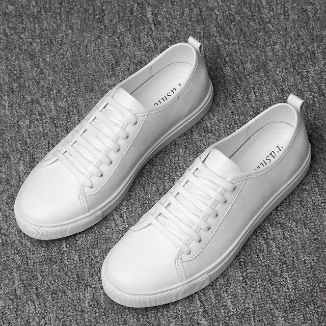 Formato 37 ~ 46 scarpa da tennis degli uomini In Pelle Pieno fiore degli uomini Comodi di Modo genuino scarpe di cuoio # AB744