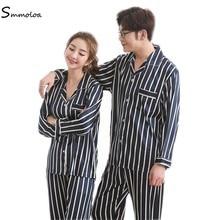 7b92ab55be Pijamas de seda para amantes de Smmoloa de manga larga de satén rayado  pijamas salón parejas pijama conjuntos