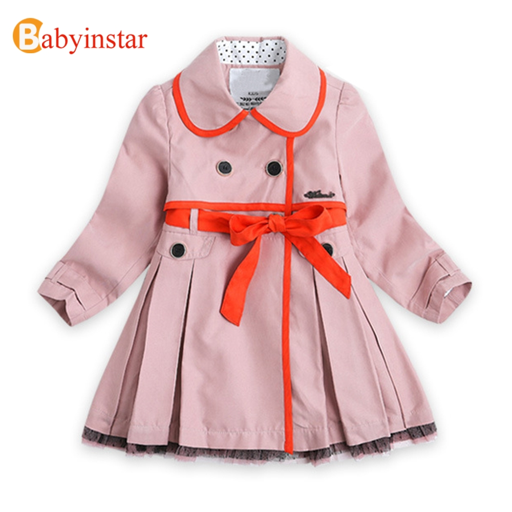 Babyinstar 2018 New Arrive Baby Girl Hit Color   Trench   Coat Long Jacket Autumn&Spring Children's Fashion Outwear Kids Overcoat