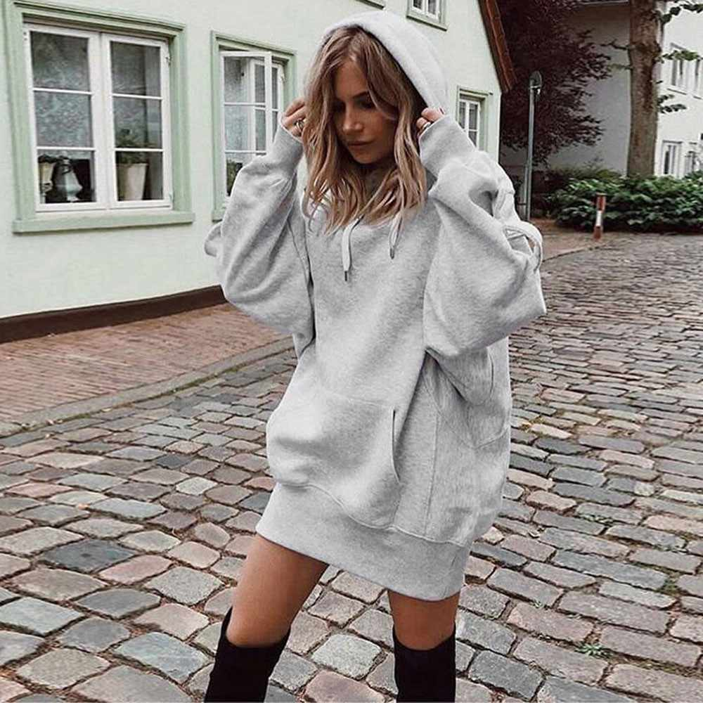Autumn Women Hoodies Fashion Solid Hooded Pullover Ladies Sweatshirt 2018 Female Top Blouse