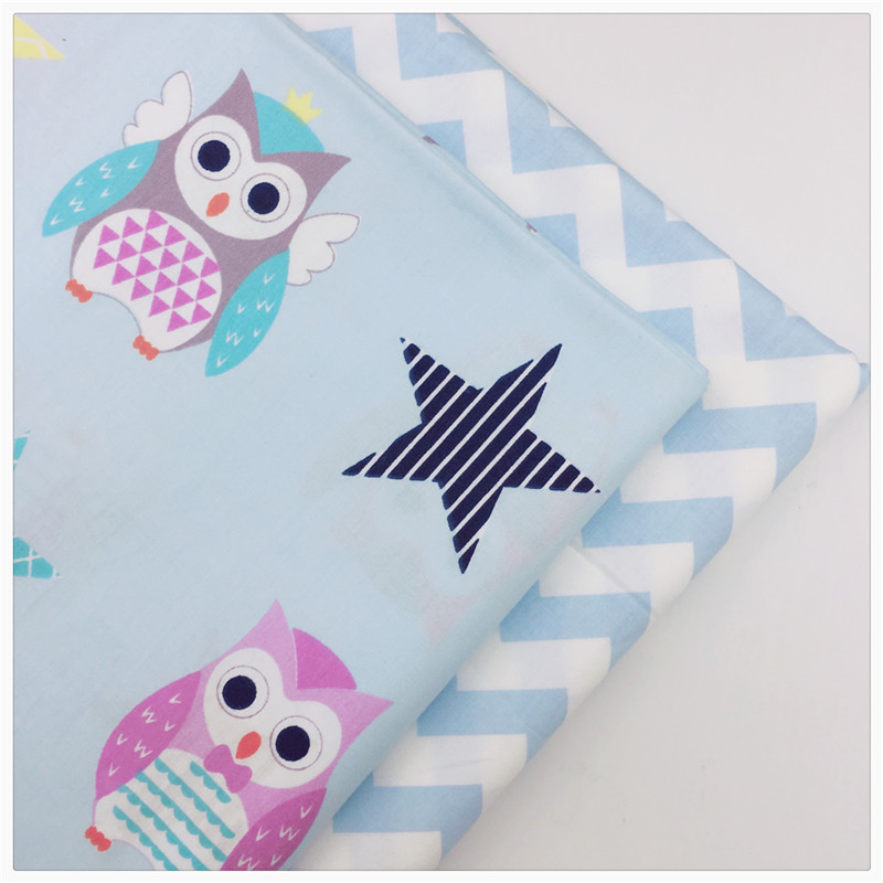 Blue owl wave soft cotton fabric cheap diy sewing craft for Cheap baby fabric
