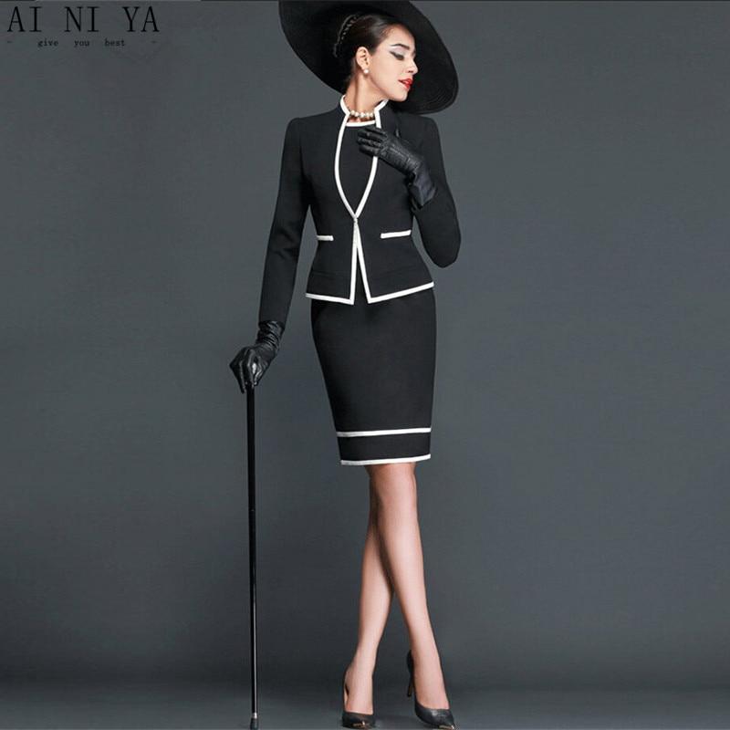 Elegant woman career suits Slim simple knee-length dress  women business office blackwhite mixed colors women career suits Одежда