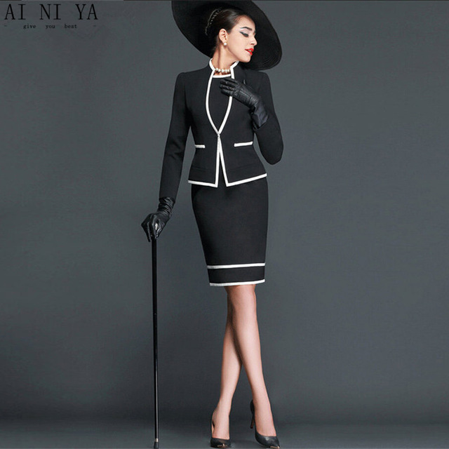 Women Skirt Suits Elegant Vintage Autumn Formal Wear To Work Office