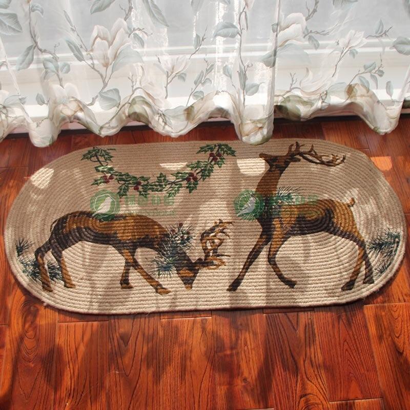 Tapis de Jute lavable Double cerf tapis de sol de chambre à coucher antidérapant tapis de porte porche tapis de sol de cuisine balcon tapis de porte.