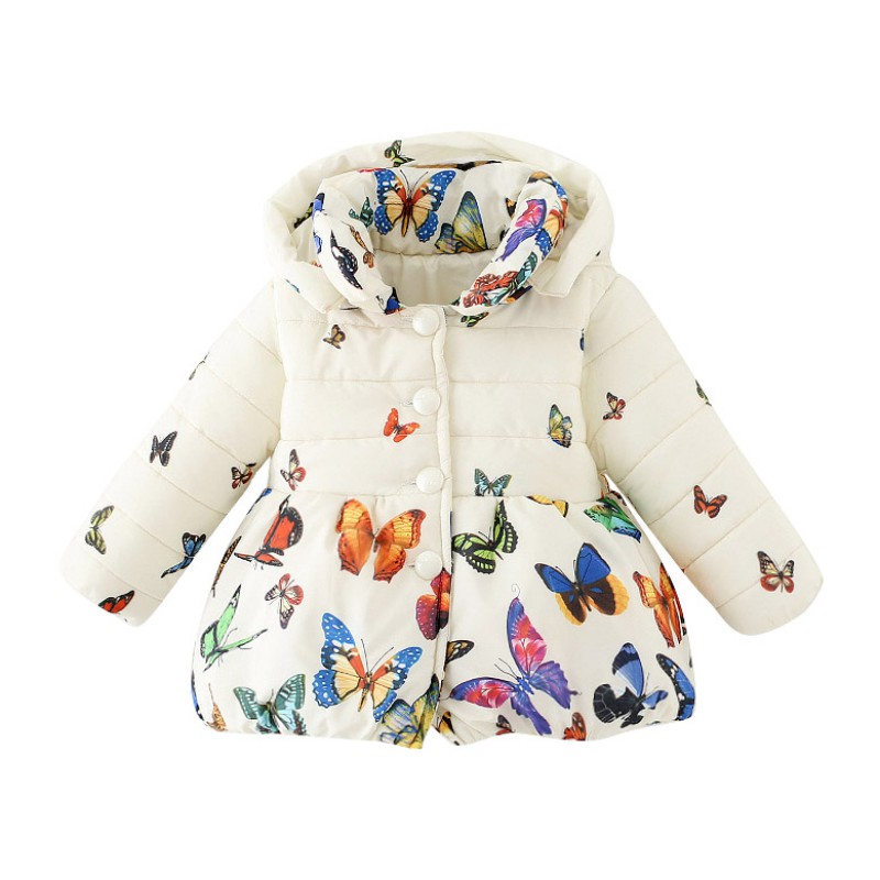 0-24M Toddler Girls Coat Warm Kid Jacket Outwear Baby Girls Winter Clothes Long Sleeve Hoodied Butterfly Printed Coat