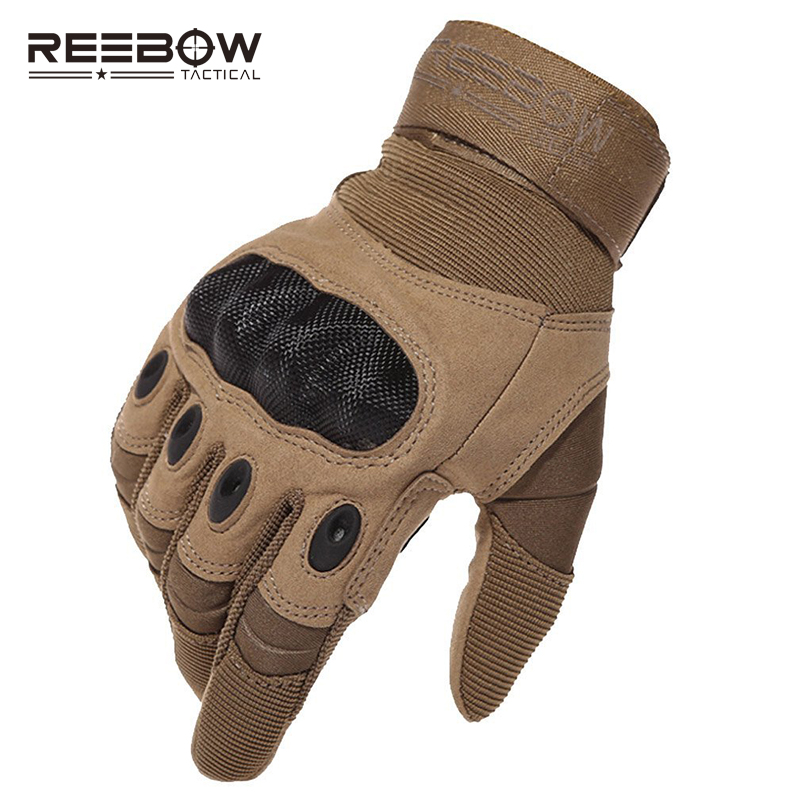 REEBOW TACTICAL Military Outdoor Hunting <font><b>Cycling</b></font> Gloves <font><b>Full</b></font> Finger Sports Combate Army Anti-slip Carbon Fiber Tortoise Gloves