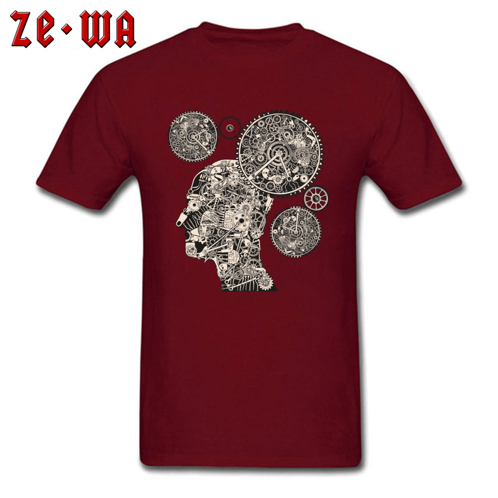 Tops T Shirt T Shirt Clock Machine Gear Mechanism Autumn Short Sleeve 100% Cotton Crew Neck Men Tshirts Slim Fit Graphic Clock Machine Gear Mechanism maroon