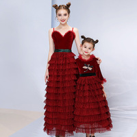 Mother And Daughter Clothes 2019 Spring New Lovely Small Dragonfly Pattren Red Long Sleeve Lace Mother Daughter Cupcake Dresses