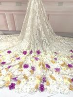 2018 African High Quality Dubai Nigerian Purple 3d Floral Fabric Lace Flower Embroidery Tulle Fabric QF1956B 5