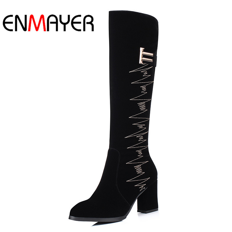 ENMAYER Winter Women Boots Over the Knee High High Heel Shoes Women  Warm Embroider Woman Boots High Quality Ladies Shoes Woman enmayer over the knee boots shoes new pu knitting square heel high boots warm snow long boots red brown black knight boots