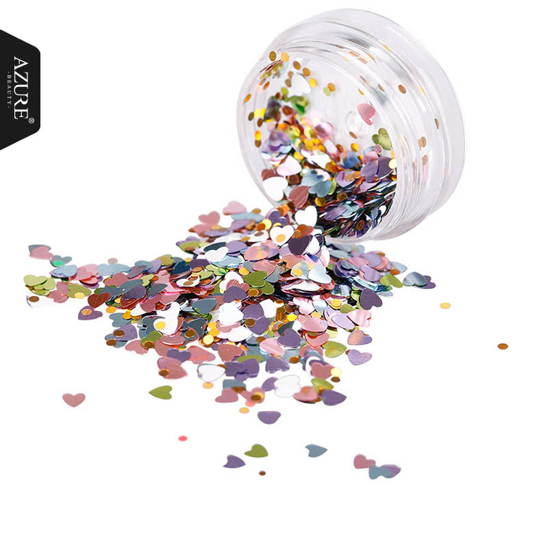 Azure Beauty Color Mixed Nail Art Glitter Sequins 1 Box Various shapes Of Nail Glitter Powder Bling Effect Nail Art Decoration monja 48 jar mix style nail art rhinestones beads glitter powder sequins flakes stickers 3d design decoration