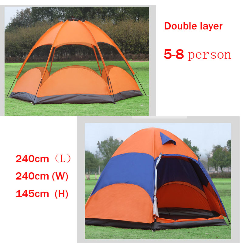 double layer 5 8 Person Big C&ing TentsQueen Size Outdoor C&ing Tents 5 8 person suitable 240*240*145cm-in Tents from Sports u0026 Entertainment on ...  sc 1 st  AliExpress.com & double layer 5 8 Person Big Camping TentsQueen Size Outdoor ...