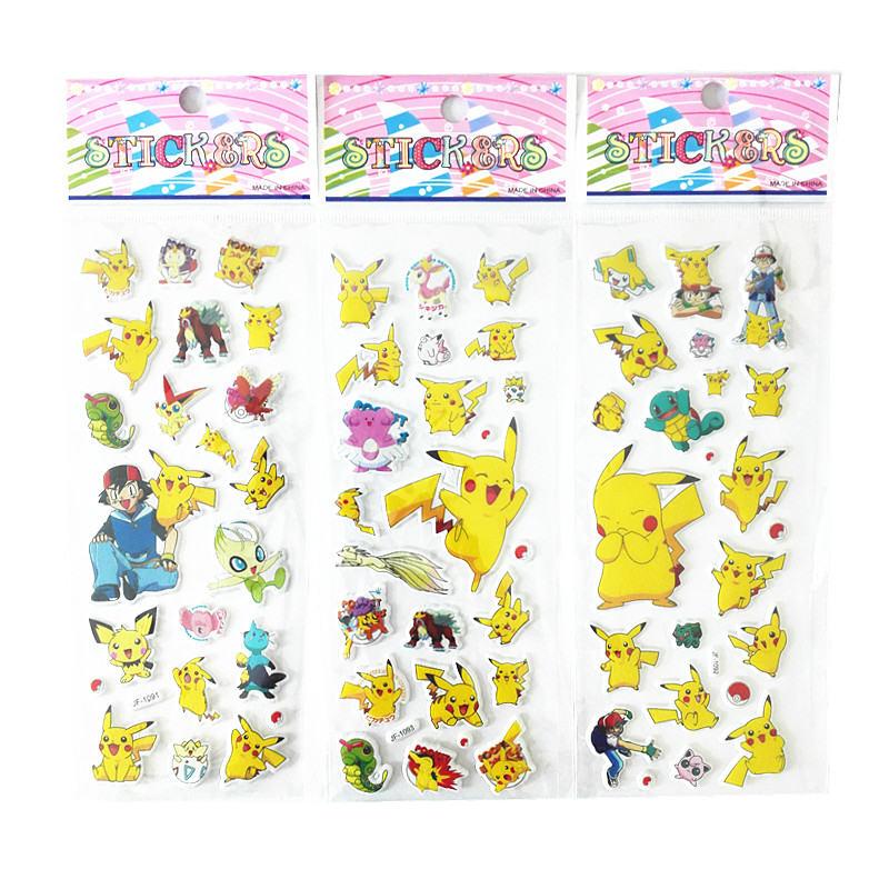 3pcs/lot 3D Pikachu Puffy Bubble Stickers Foam Reward Stickers Party Favors For Kids Cute DIY Craft Scrapbook Stickers