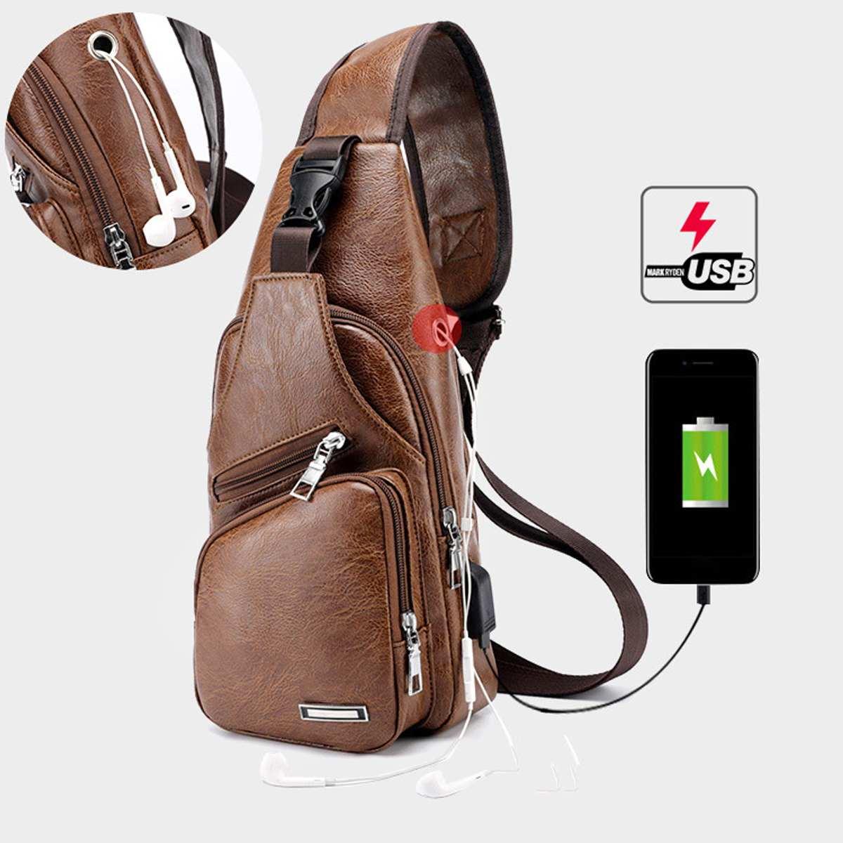New Men's Chest Bag USB Charging Crossbody Bags PU Leather Shoulder Bag Diagonal Package Back Pack Travel Outdoors Messenger Bag