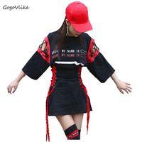 Street Lace Up Cutout Top Tee Jazz Short Sleeve Loose Medium Long T Shirt Female Bf