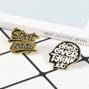 Over-thinker Human head and Letters Pins Quote Don't over-think Badge Enamel Pin Lapel Pin Metal Brooches for Women Men Jewelry image