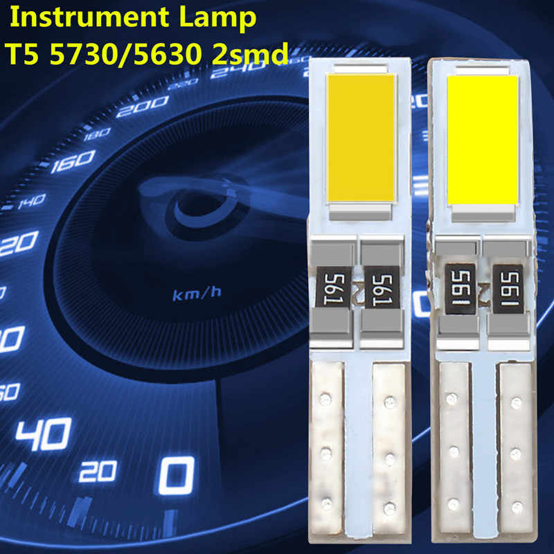 2/4/10/20/50PCS Mobil Auto LED T5 W3W 5730 SMD Sisi Bohlam Instrumen cluster Panel Speedometer Gauge Dashboard DC 12V
