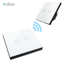 Vhome EU UK Smar Home 2gang Smart Wall Light Touch Switch Crystal Glass Panel 433mhz Wall