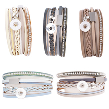 Newest Design Snap Bracelet&Bangles High Quality Steel Charms Bracelets For Women Fit 12mm Partnerbeads Snaps Jewelry KS0610-S