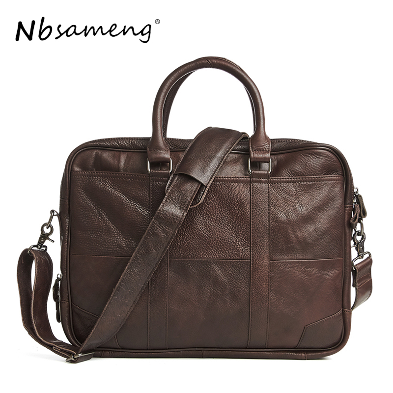 NBSAMENG Men Genuine Cowhide Leather Messenger Bags Man Vintage Computer Bag Business Tote Briefcases Handbag 2017 New Arrival