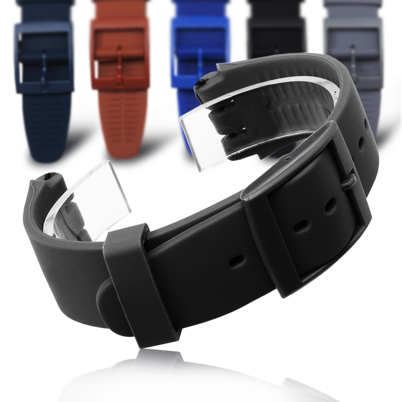 MR NENG Watch Accessories For Swatch Strap Buckle Black White Navy Silicone Watch Band 16mm 17mm 19mm 20mm Rubber Strap