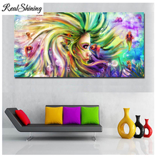 Full square Round Drill Diamond Painting color mermaid girl fish Seahorse Large 5D DIY Embroidery Mosaic Home Decor FS4796