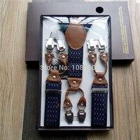 20158 OEM FACTORY WHOLSALE Men S Gift Braces Six Climp Clips Jacquard Plaid Weave Fabric Suspenders